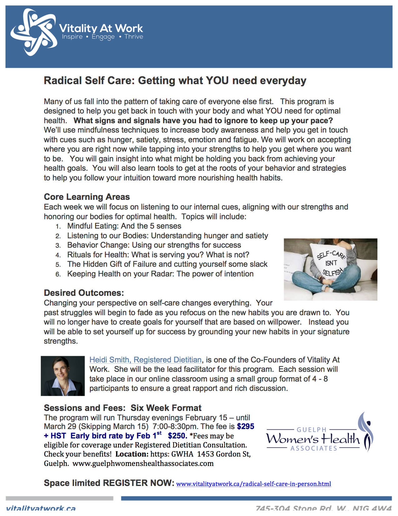 Radical Self Care Program by Heidi Smith at Guelph Womens Health Associates